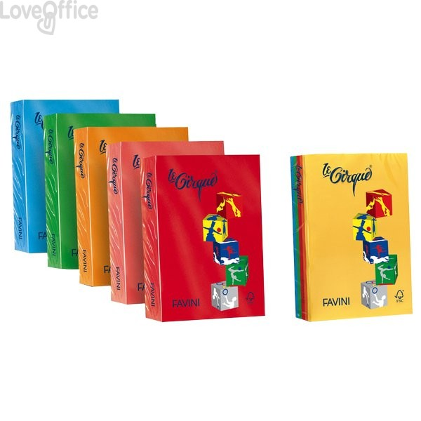 Risma carta colorata Le Cirque Favini - A4 - 80 g/mq - verde bandiera (risma500)