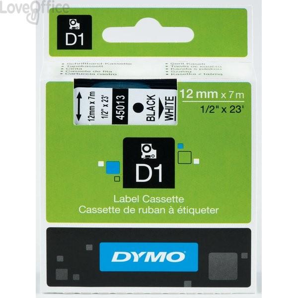 Nastro Dymo D1 - 12 mm x 7 m - bianco/nero - S0720610