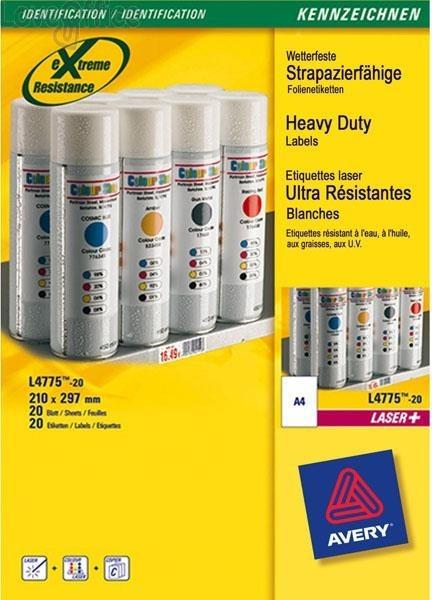 Etichette poliestere bianco Laser Avery - bianco - 210x297 mm (20 etichette)