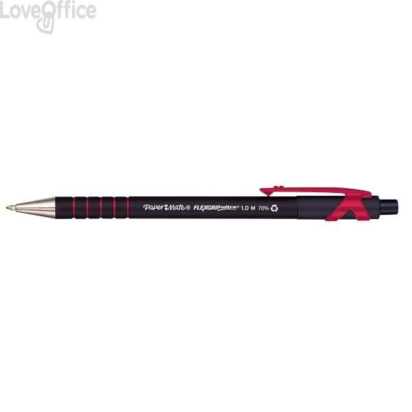 Penne a sfera a scatto FlexGrip Ultra Papermate - rosso - 1 mm (conf.12)