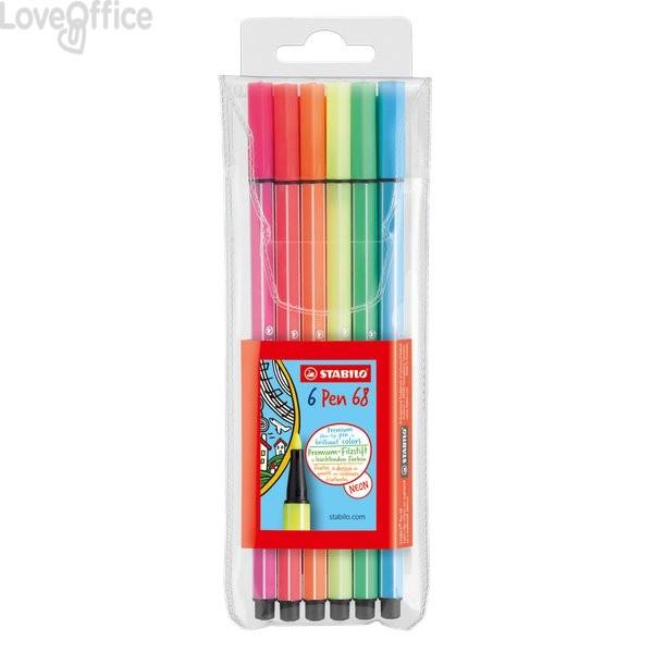 Pennarellini colorati Stabilo Pen 68 neon in Astuccio - colori fluo assortiti - 1 mm - da 7 anni (conf.6)