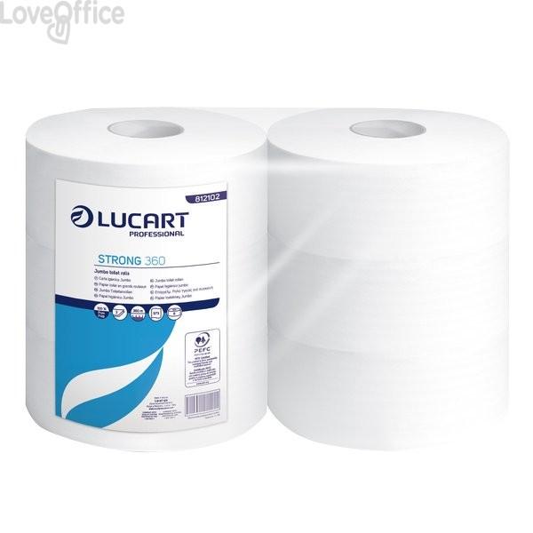 Carta igienica pura cellulosa Maxi jumbo Lucart - 2 veli - 973 strappi - 360 m 812102 (conf.6 rotoli)