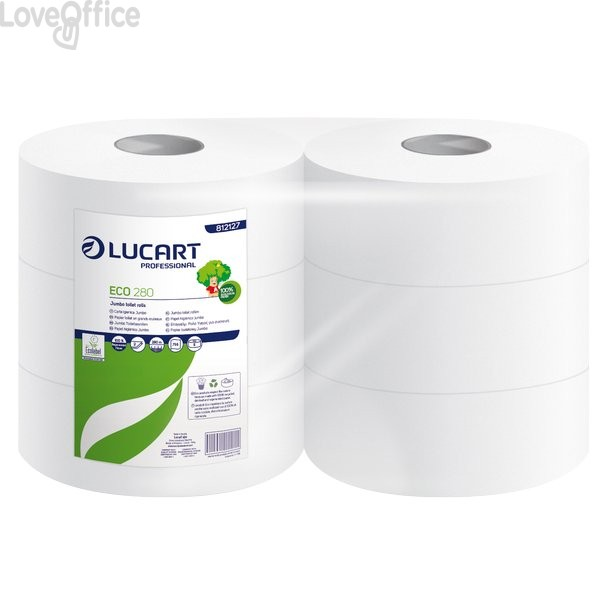 Carta igienica ecologica Maxi jumbo Lucart 2 veli - 973 strappi - 360 m - 812173 (conf.6 rotoli)