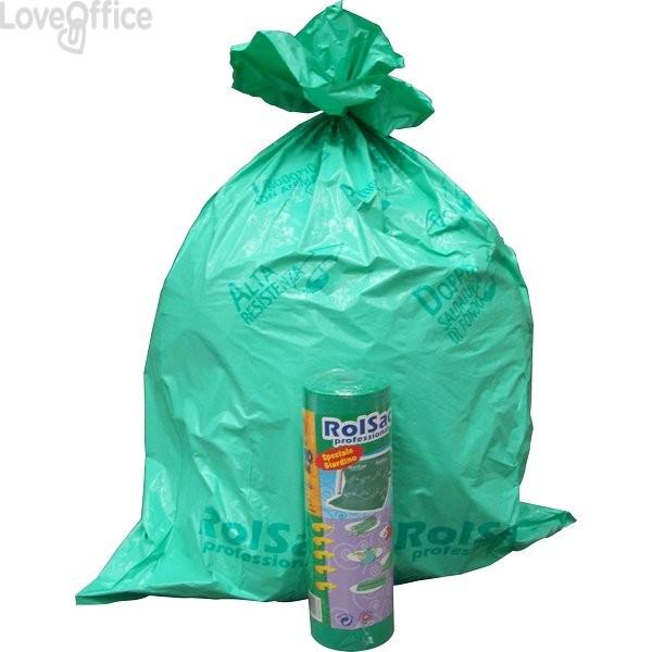 Sacchi immondizia Cagliplast - 85x120cm -130l- 60µm -verde fondo piatto antigoccia- 10088 (conf.20)