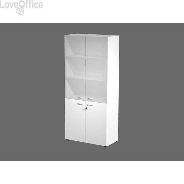 Armadi componibili Artexport 2898 - vetro e melaminico - L90 P45,8 H200 cm - Bianco