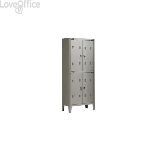 Spogliatoio sovrapposto Tecnical 2 a 4 posti acciaio 7/10 monoblocco - 70x35x180 cm