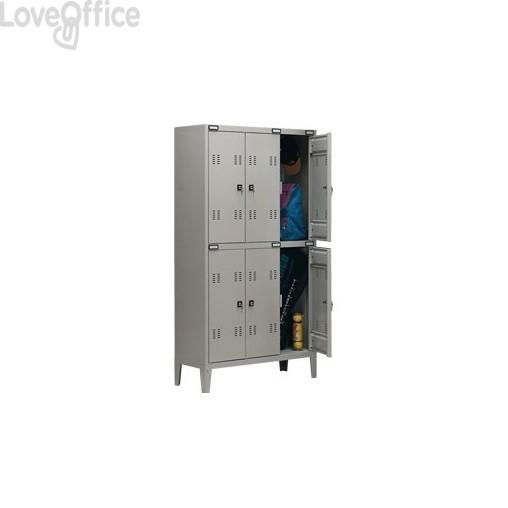 Spogliatoio sovrapposto Tecnical 2 a 6 posti acciaio 7/10 monoblocco - 102x35x180 cm