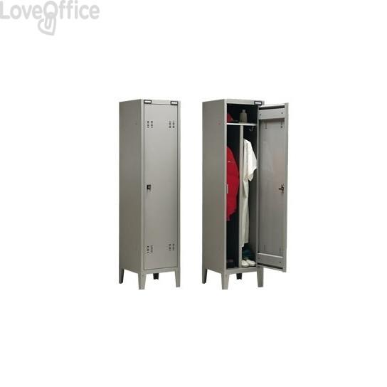 Spogliatoio Tecnical 2 a 1 posto con divisorio sporco/pulito - Acciaio 7/10 monoblocco - 43x47x180 cm