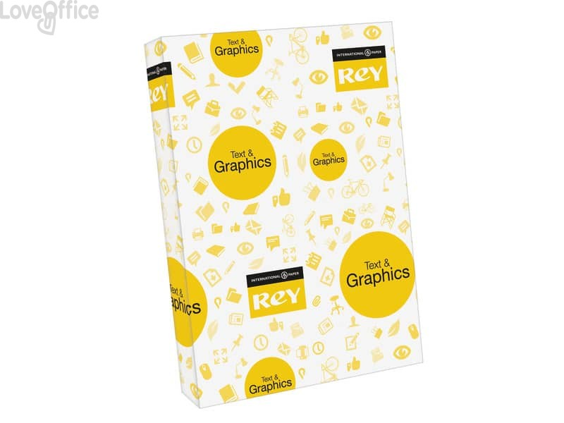 Risma carta A4 - Cartoncino leggero INTERNATIONAL PAPER Rey Text & Graphics - 160 g/m² (5 risme da 250 fogli)