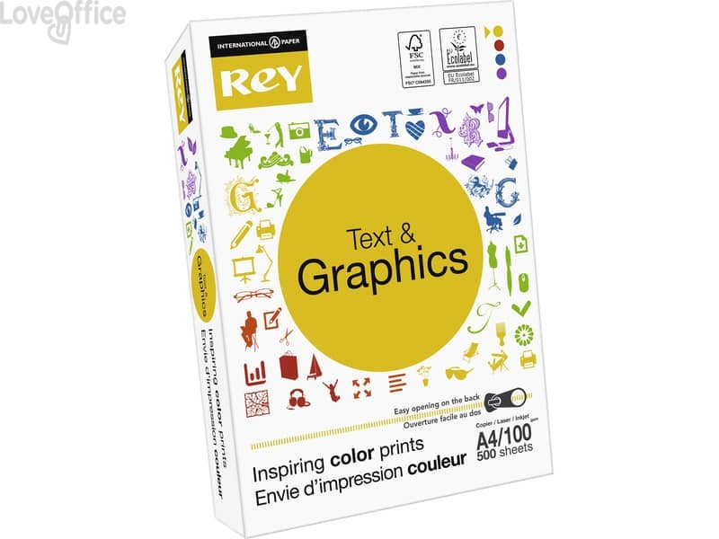 Carta per stampe e fotocopie A4 INTERNATIONAL PAPER Rey Text & Graphics - 100 g/m² (5 risme da 500 fogli)