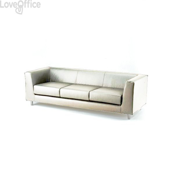 Divano 3 posti - divanetto attesa in similpelle -QUAD UNISIT - BIANCO - QD3/KQ