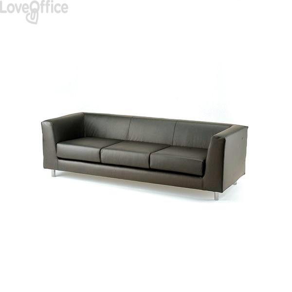 Divano 3 posti - divanetto attesa in similpelle - QUAD UNISIT - GRIGIO - QD3/KG