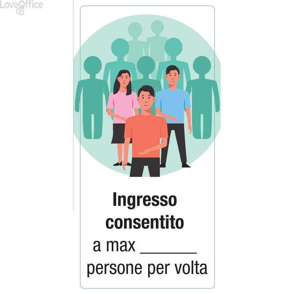 """Adesivo segnaletico """"Ingresso consentito a max .... persone per volta"""" 15x30 cm multicolore - 30025"""
