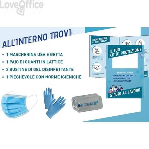 Kit dispositivi di protezione con mascherina + guanti + 2 bustine gel + pieghevole con norme igieniche - SFTKT01