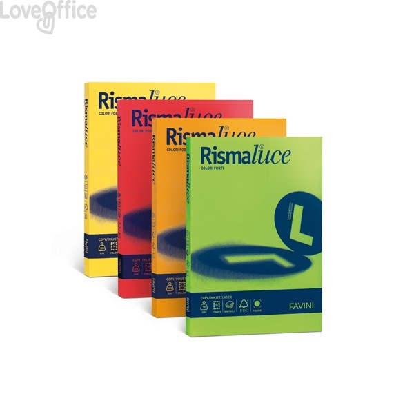 Cartoncini colorati Rismaluce Favini A3 - 140 g/mq - tinte forti - giallo sole (200 fogli)