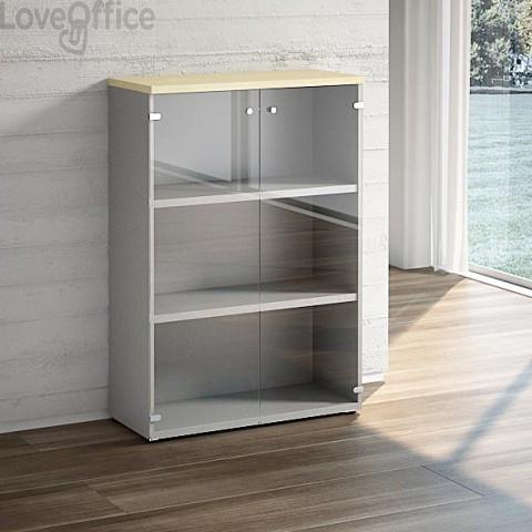 Mobile libreria LineKit - Mobile con ante a vetro e 2 ripiani - top acero - 90x40,1x129,3 cm