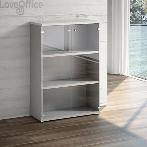 Mobile libreria LineKit - Mobile con ante a vetro e 2 ripiani - grigio - 90x40,1x129,3 cm