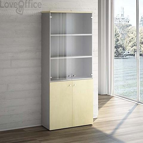 Mobile Libreria LineKit acero - Mobile ufficio con ante vetro+ legno - 4 ripiani - 90x40,1x212,5 cm