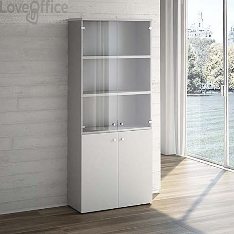 Mobile Libreria LineKit grigio - Mobile ufficio con ante vetro+ legno - 4 ripiani - 90x40,1x212,5 cm