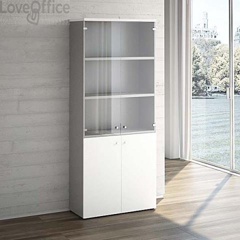 Mobile Libreria LineKit bianco - Mobile ufficio con ante vetro+ legno - 4 ripiani - 90x40,1x212,5 cm