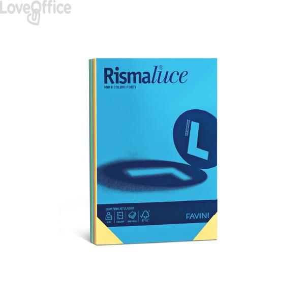 Risma carta colorata Rismaluce Favini A4 - 90 g/mq - 8 colori assortiti (300 fogli)
