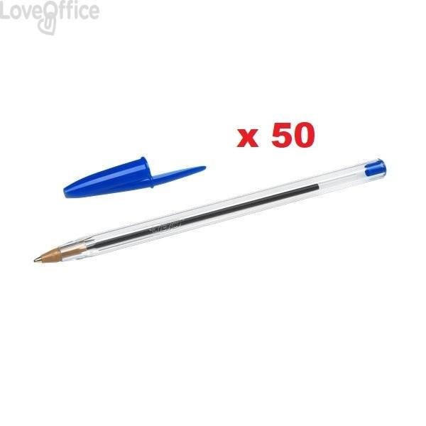 Penne a sfera Cristal® Bic - Medium Classic - blu - 1 mm - cappuccio (conf.50)