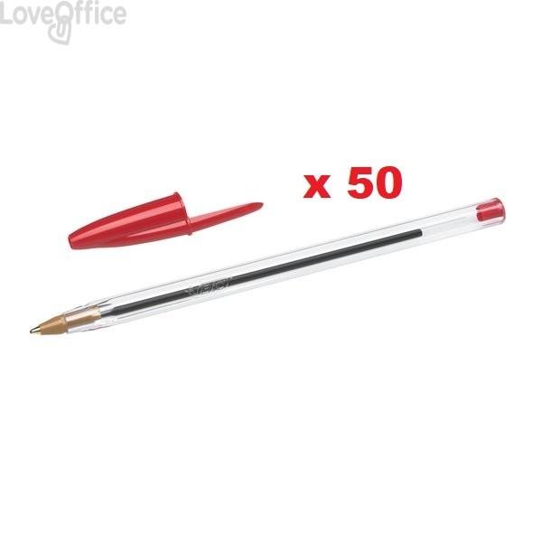 Penne a sfera Cristal® Bic - Medium Classic - rosso - 1 mm - cappuccio (conf.50)