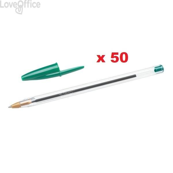 Penne a sfera Cristal® Bic - Medium Classic - verde - 1 mm - cappuccio (conf.50)