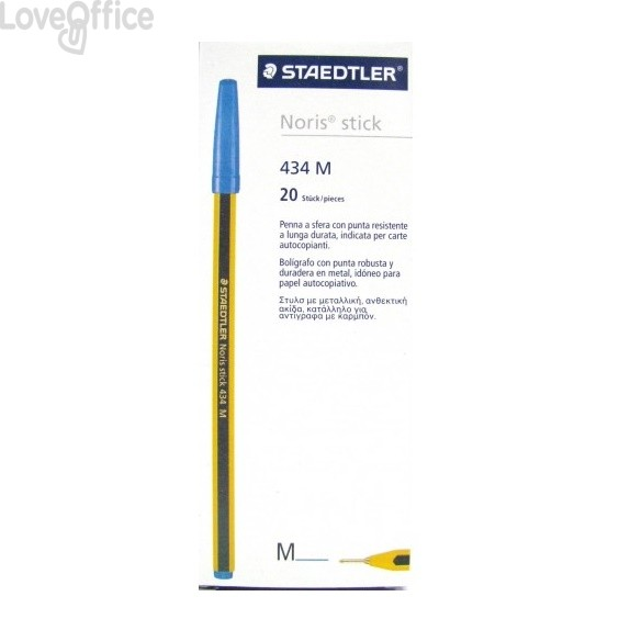 Penne a sfera Noris Stick Staedtler - blu - 1 mm (conf.20)
