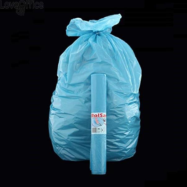Sacchi per immondizia Cagliplast - 50x60 cm - 30 l - 16 µm - azzurro - 10242 (conf.15)